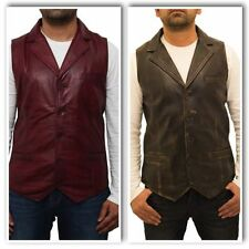 Leather Patternless Casual Waistcoats for Men