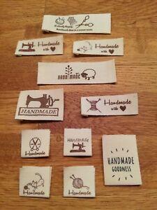 Etiketten Label Einnäher Stoff Motive auswählbar Handmade Webettiketten Webband