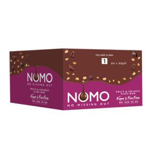 Nomo Fruit & Crunch Vegan Chocolate 32g Bar Dairy Gluten Egg & Nut Free 24 Case