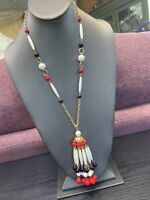 "Vintage 1950's  Red White Blue  USA Pride Lucite Beaded Tassel Necklace 24"" Long"