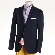 NWT $1695 LUCIANO BARBERA Unstructured Navy Seersucker Cotton Sport Coat 40 R