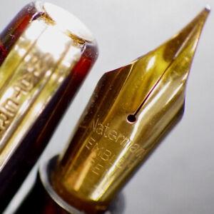 WATERMAN EMBLEM Burgundy Lever Fountain Pen EMBLEM Gold Flex M Nib Serviced