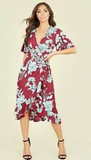 Ladies Burgundy wrap around tieback floral dress size 10 casual womens dress