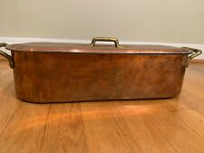 Copper Fish Poacher with Rack and Lid Approx. 16 inches long
