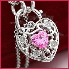 9K WHITE GOLD GF PINK ROSE QUARTZ FILIGREE BELCHER HEART PADLOCK BANGLE BRACELET