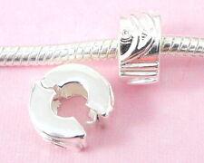 10pcs Silver Clip Lock Stopper Beads Fit Bracelet T04