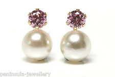 9ct Gold Pearl and Pink CZ Stud earrings Gift Boxed Made in UK