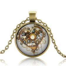 Retro Bronze Steampunk Time Machine Heart Photo CABOCHON Glass Pendant Necklace
