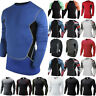 Mens Compression Base Layer Shirt Tops Long Sleeve Sports Gym Athletic T-Shirts