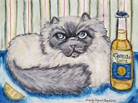 Himalayan Drinking Corona Beer Original Pastel Painting 9x12 Cat Pop Art KSams