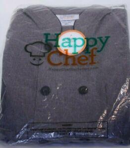 Happy Chef Coat, 3Xl short sleeve, style 404, Gray, NEW, FREE SHIPPING