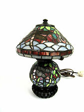 """11.5"""" Vintage Tiffany Style Dragonfly Table Lamp Multi-Color Stained Glass"""
