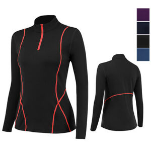 Womens 1/4 Zip Pullover Fleece Warmth Workout Gym Shirts Mock Neck Long Sleeved