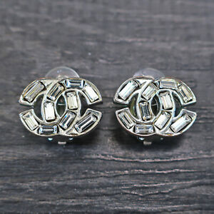 CHANEL Silver Plated CC Logos Rhinestone Vintage Clip Earrings #6943a Rise-on