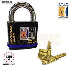 Federal FD730 Sold Secure Silver CEN 4 Super Heavy Duty Solid Steel Padlock