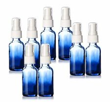 Boston Round 1oz Shaded Blue Glass Bottles. With White Spray Tops. Lot of 8. NEW