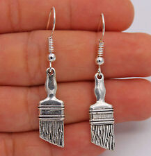 "925 Silver Plated Hook -1.8"" Retro Paint Brush Lady Cocktail Earrings Gifts #61"