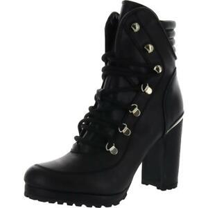 DKNY Womens Lenni Black Leather Platform Boots Shoes 8.5 Medium (B,M) BHFO 5199