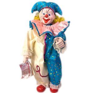 "Vintage Heritage Mint Ltd Chester the Jester Clown Porcelain Doll 1989 16"" Vtg"