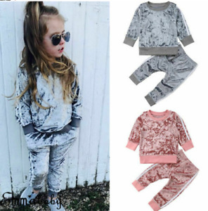 Toddler Kids Baby Girl Velvet Top Sweatshirt Long Pants Tracksuit Outfit Clothes