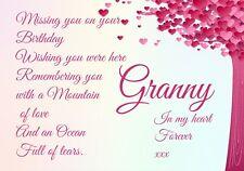 A* Graveside Card female mum Nana Auntie Birthday memorial Keepsake f75