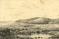 A.H. Boord, Moorland Landscape with Figures & Rowboat – 1884 pen & ink drawing