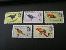 BRITISH HONDURAS, SCOTT # 167-170(4)+172,1c+2c+3c+4c+10c VALUES 1962 BIRDS MVLH