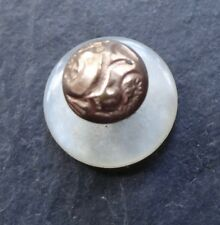 plate fancy dress stud button -R251 antique Edwardian mother of pearl gold