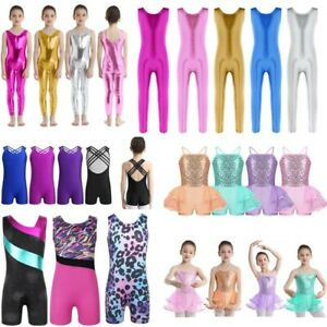 Kids Girls Sequins Dance Tutu Leotard Skirted Ballet Dress Gymnastics Dancewear