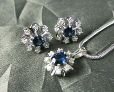 14K White Gold Diamond & Sapphire Pendant / Earring Set with 8K White Gold Chain