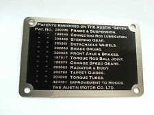 Austin 7 Seven Ruby Dashboard Patents Plate Badge Brass Plate 1937 - 1939