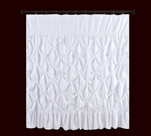 Pinched Pleat  Fabric  Shower Curtain