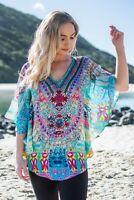 Viscose Embellished Short Round Kaftan Top Resort wear Caftan Butterfly Style