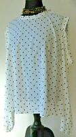 Attention Women's Blouse Top Open Shoulder Polka Dot Ivory size X Large New