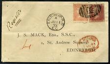 1873 registered envelope Eastcheap to Edinburgh, franked SG.43 & 93 . . .