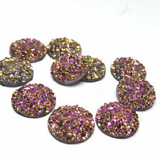 10 x New Rose Gold AB Druzy 11.5 - 12mm Cabochon Perfect for Earrings.