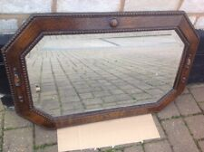 Victorian Beaded Oak 8 Sided Rectangle Wall Mirror