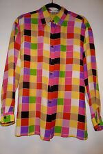 Suitsme 100% Silk, Checked, Long Sleeve, Button Down Shirt  Size S