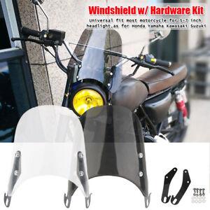 "Motorcycle 5"" - 7"" Headlight Windshield Screen Fairing For Yamaha Honda Kawasaki"