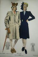 GRAVURE de MODE Paris- été 1946 tissus de labbey