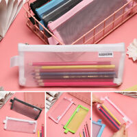 Cosmetic Transparent Grid  Mesh Pen Bag Zipper Pencil Case Cosmetic Storage