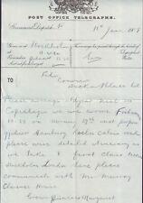SWEDEN ROYAL FAMILY TELEGRAM TO BUCKINGHAM PALACE 1908