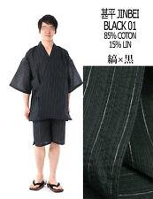 甚平 - Jinbei - Traje tradicional japonesa LL - Negro 01 - Import Japón