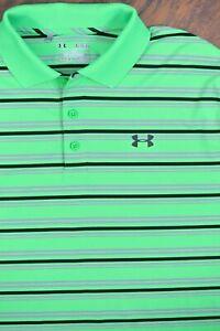 Under Armour Playoff Polo Shirt Green Stripe Men's XL