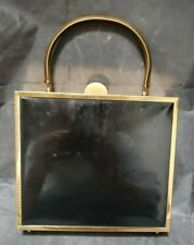 VINTAGE MID CENTURY PATTON LEATHER & BRASS BOX PURSE