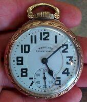 1945 Hamilton Railway Special Pocket Watch 992B 21j 16s 10k Gold Filled Case