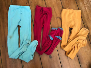 JOHN LEWIS FAT FACE Red Mustard Girls Tights bundle 3 x pairs 9-10 Years approx