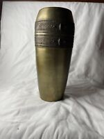 "Vintage Solid Brass Vase With Ornate 11.75"" Tall Original Patina"