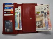 Leather Purse Wallet Organiser Extra Large Many Features Top Brand Red RFID