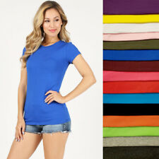 Elastic Basic Casual Tee Women Shirt Cap Sleeve Round Neck Cotton Top S~2XL